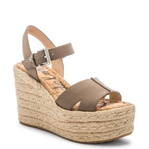 Sam Edelman Gray Leather Maura Wedge Espadrille